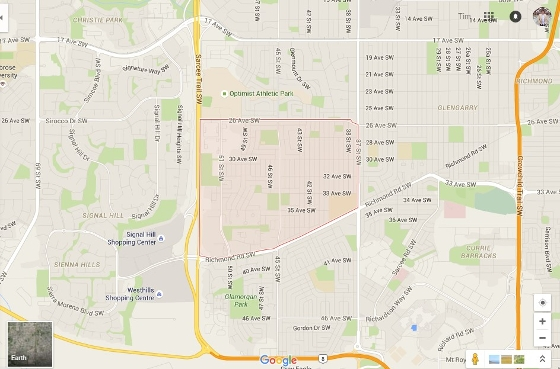 Calgary Glenbrook Map